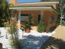 Front entrance with cactus yard and driveway