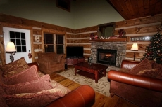 Cozy living area surrounding hand-stacked stoned fireplace and 65