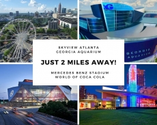 Just 2 miles away from some of Atlanta's best attractions including: Georgia Aquarium, World of Coca Cola, Mercedes Benz Stadium, and Skyview Atlanta!